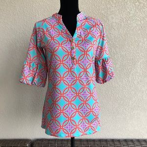 Tracy Negoshian Piper Bell Sleeve Top Tapestry XXS